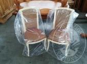 4 sedie a tessuto quadrettato bordo avorio